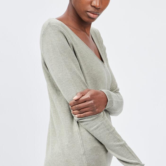 Pull avec col en V femme couleur bronze
