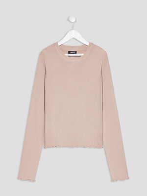 Pull manches longues Liberto beige fille