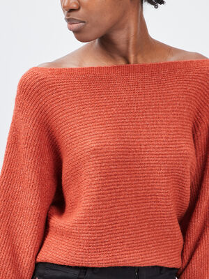 Pull manches 34 orange fonce femme