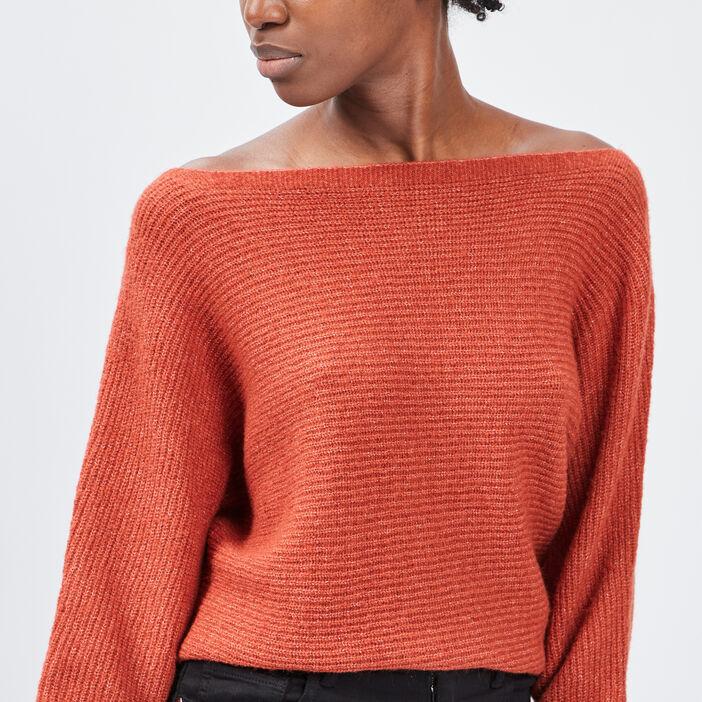 Pull manches 3/4 femme orange foncé