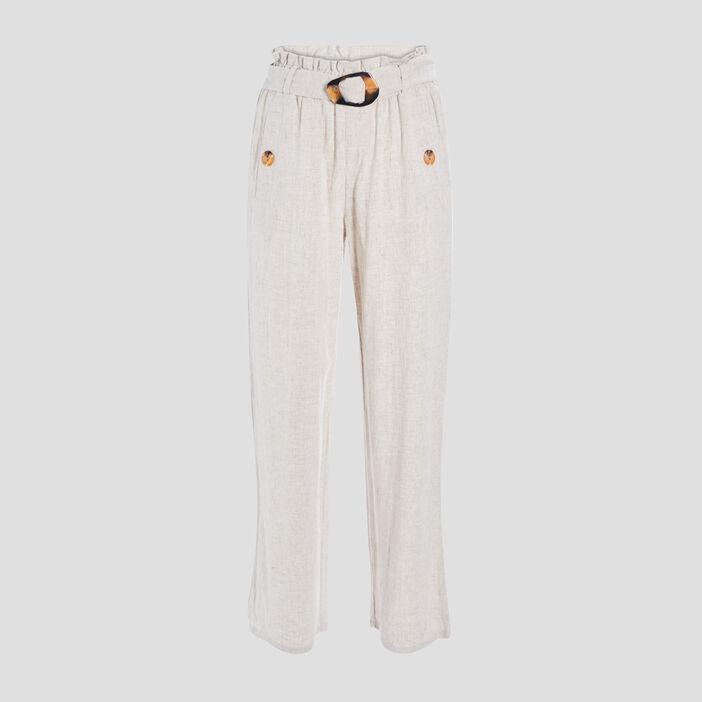 Pantalon droit fluide ceinturé femme ecru