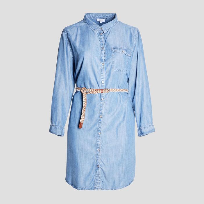 Robe chemise droite ceinturée femme grande taille denim double stone