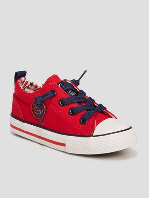 Baskets en toile rouge garcon