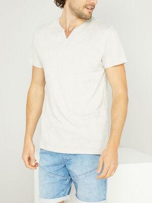 T shirt col tunisien uni beige homme