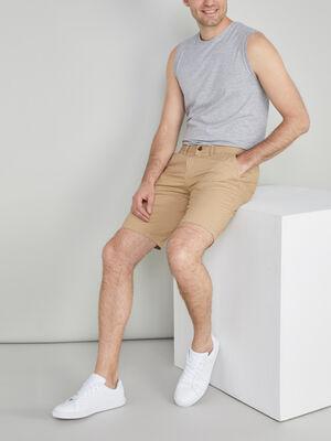 Bermuda coton uni coupe droite beige homme