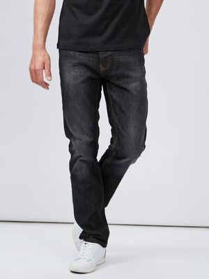 Jeans regular effet delave noir homme