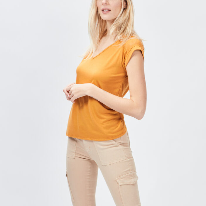 T-shirt manches courtes femme jaune moutarde