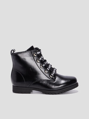 Bottines plates zippees noir fille