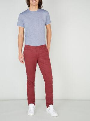 Pantalon droit uni bordeaux homme