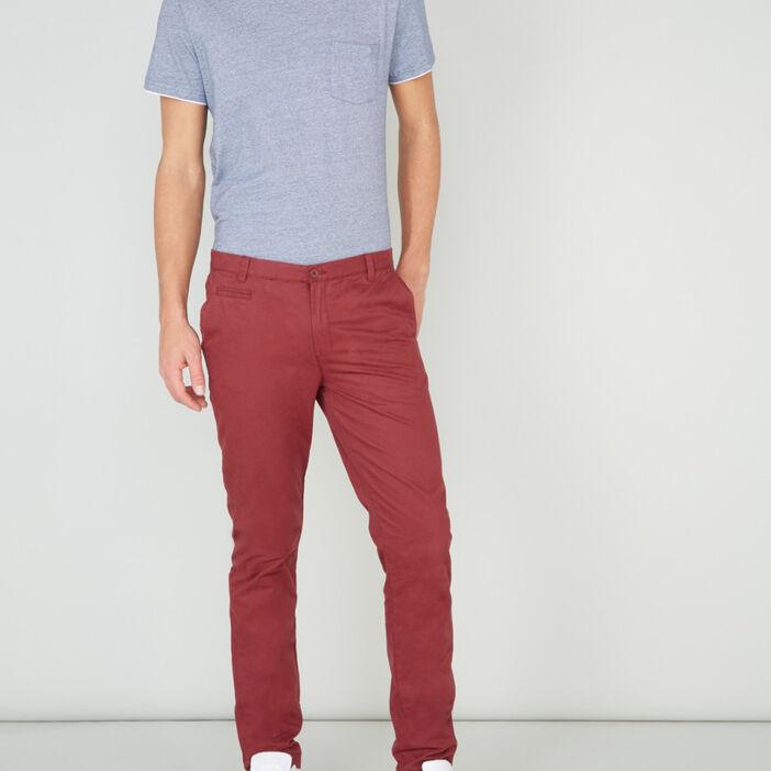 Pantalon droit uni homme bordeaux