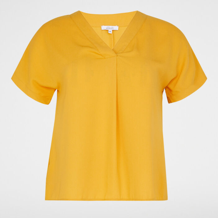 Chemise manches courtes femme grande taille jaune moutarde