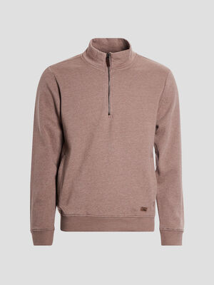 Sweat avec col montant taupe homme