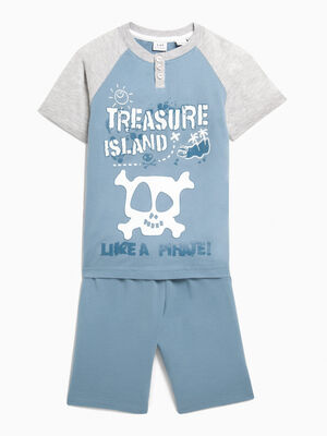 Pyjama short pirate gris garcon