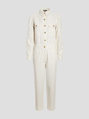 Combinaison pantalon boutonnee ecru femme
