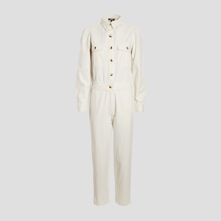 Combinaison pantalon boutonnée femme ecru