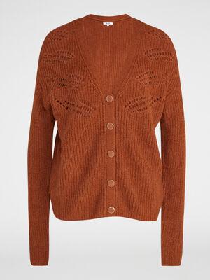Cardigan laine melangee motifs ajoures marron clair femme