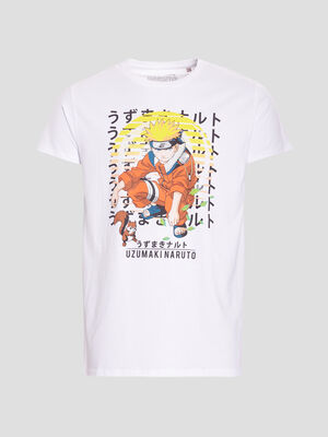 T shirt manches courtes Naruto blanc homme