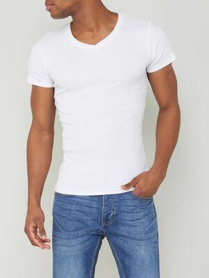 T shirt chine col V blanc homme
