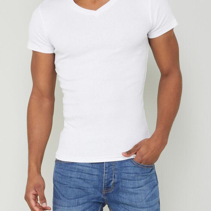 T-shirt chiné col V homme blanc