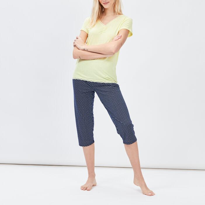 Ensemble pyjama 2 pièces femme jaune
