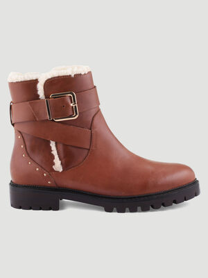 Boots motardes fourrees cloutees marron femme