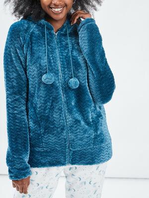 Veste de pyjama a capuche bleu canard femme