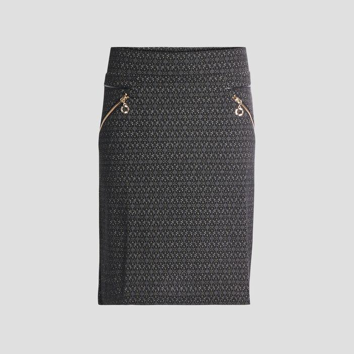 Jupe droite détails zippés femme noir