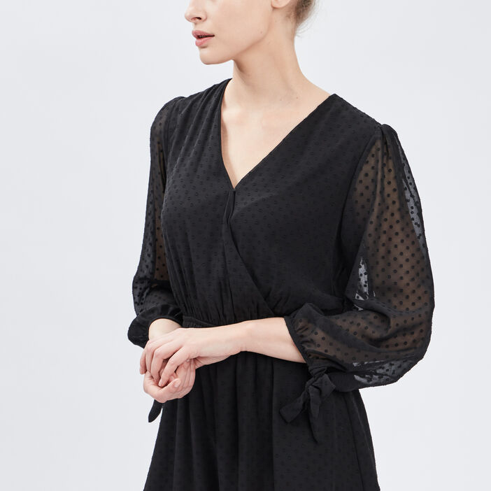 Robe droite taille élastiquée femme noir
