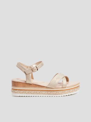Sandales compensees couleur or femme