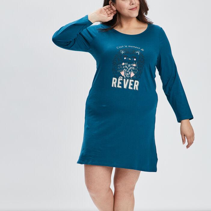 Chemise de nuit femme grande taille bleu