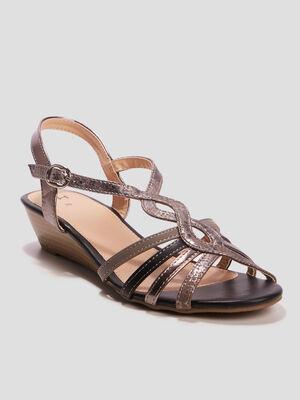 Sandales a talons compenses multicolore femme