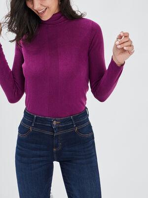 Pull a col roule violet fonce femme