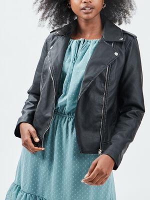Veste simili cuir droite zippee noir femme