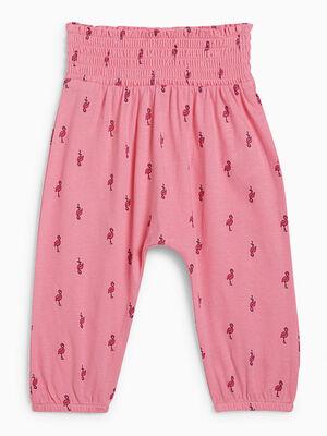 Pantalon imprime taille extensible rose fille