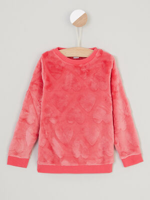 Sweat manches longues rose framboise fille