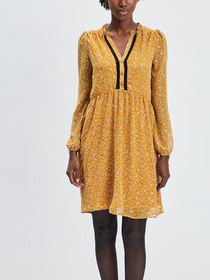 Robe evasee avec col en V jaune moutarde femme