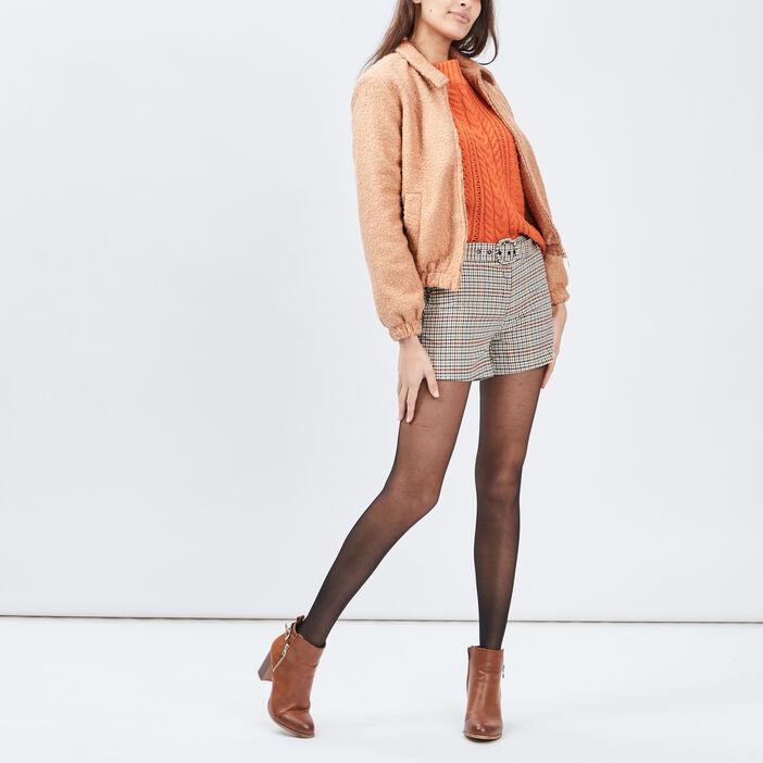 Short droit ceinturé femme multicolore