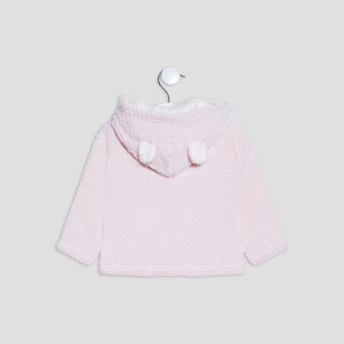 Gilet boutonné à capuche bébé fille rose clair
