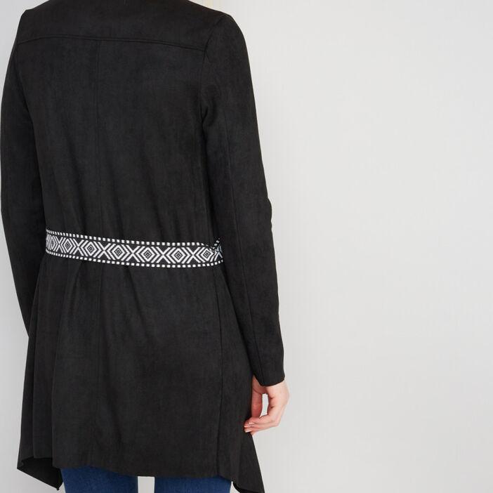 Veste avec ceinture imprimée femme noir