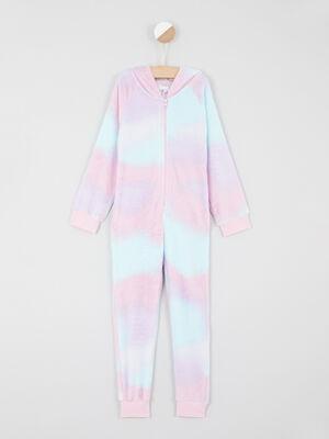 Combinaison arc en ciel capuche imprimee rose clair fille