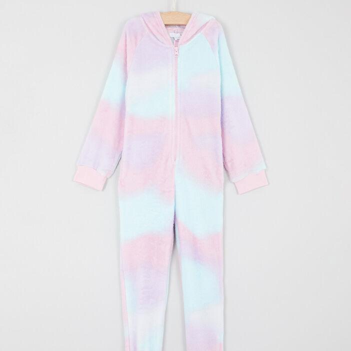 Combinaison arc en ciel capuche imprimée fille rose clair