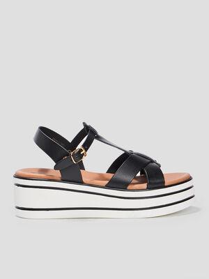 Sandales compensees en cuir noir fille