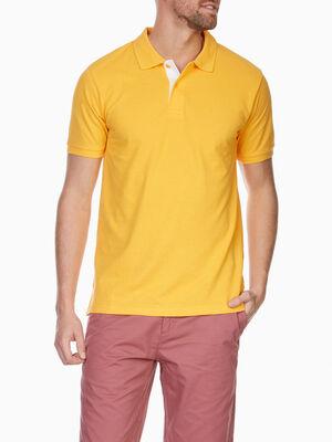 Polo en coton pique uni jaune homme