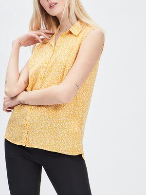 Chemise sans manches jaune moutarde femme