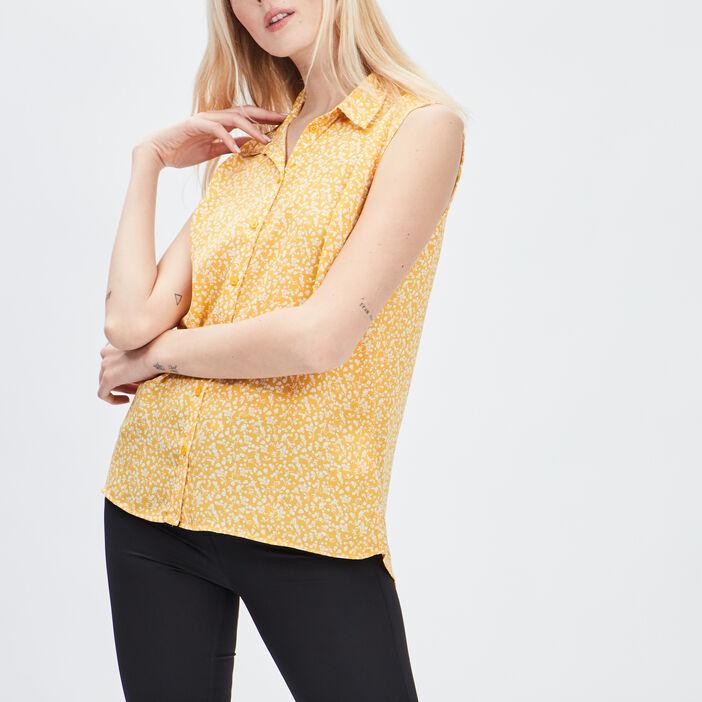 Chemise sans manches femme jaune moutarde
