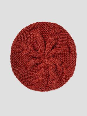 Beret tricote avec torsades orange fonce mixte