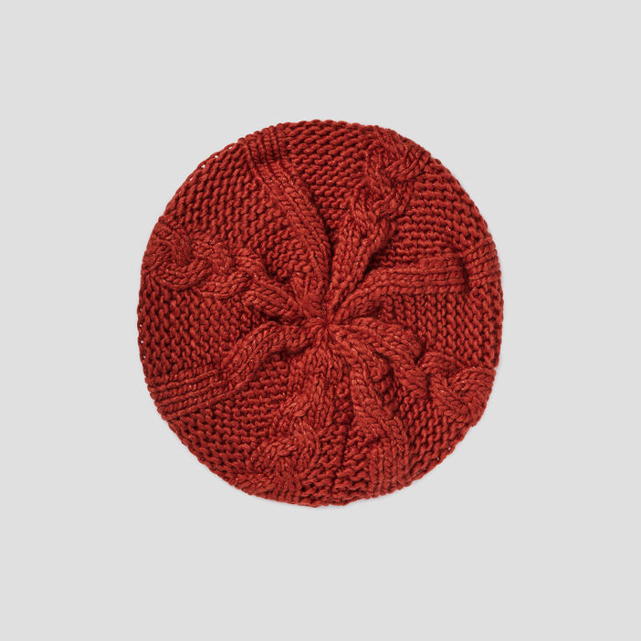 Béret tricoté avec torsades mixte orange foncé