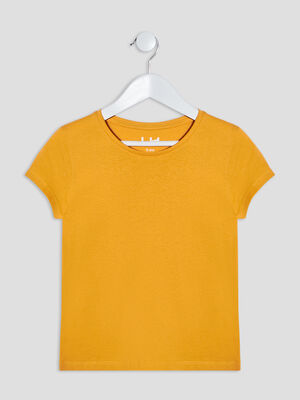T shirt manches courtes jaune moutarde fille
