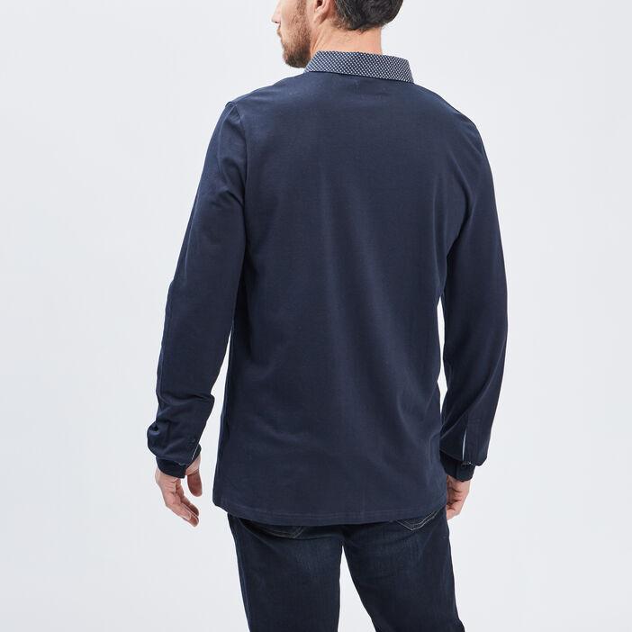 Polo manches longues homme bleu marine