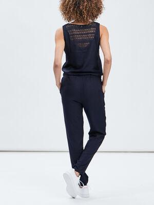 Combinaison pantalon a lien bleu marine femme